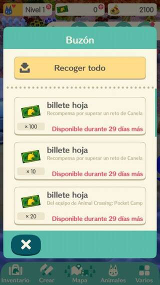 Billetes hoja Animal Crossing Pocket Camp