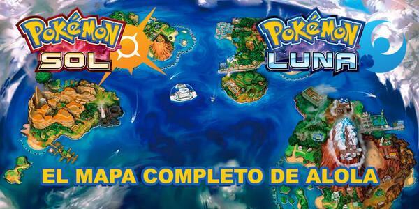 El mapa completo de Alola en Pokémon Sol y Luna