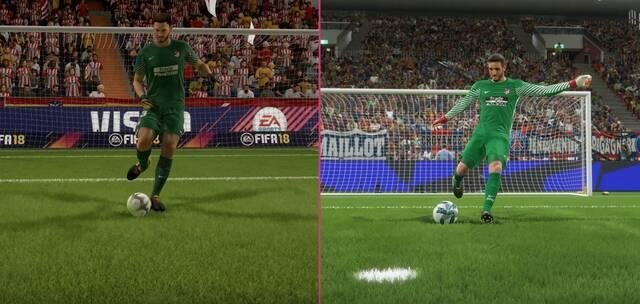 Comparan los gráficos de FIFA 18 y PES 2018
