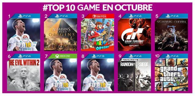 Estos han sido los juegos más vendidos en GAME en octubre