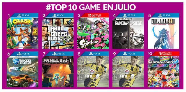 GAME detalla los juegos más vendidos durante el mes de julio