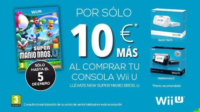 Consigue, hasta el Día de Reyes, New Super Mario Bros. U por 10€ al comprar una Wii U