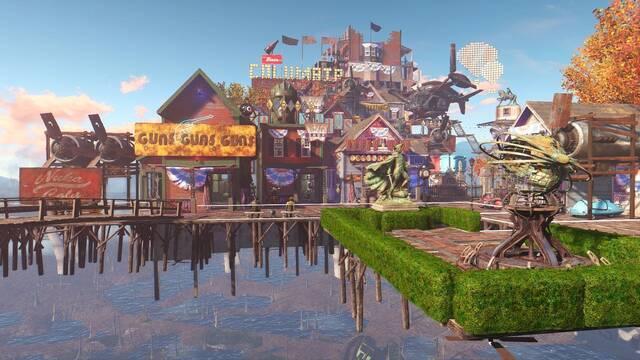 Recrean en Fallout 4 la ciudad flotante de BioShock Infinite