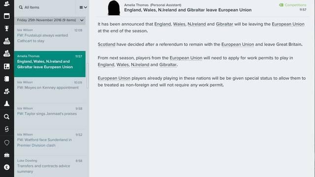 Football Manager 2017 contemplar� cambios producidos por el 'Brexit'