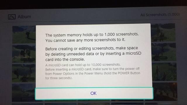 Nintendo Switch puede almacenar hasta 1000 capturas de pantalla
