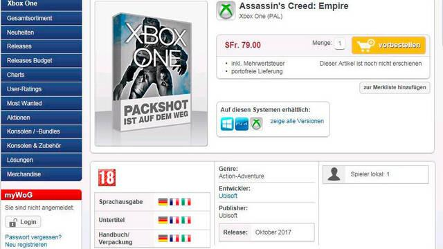Una tienda fecha Assassin's Creed Empire para octubre