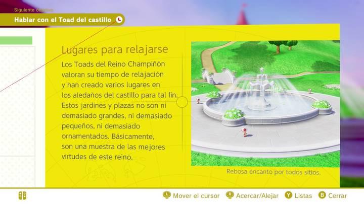 Lugares para relajarse Reino Champiñón Super Mario Odyssey