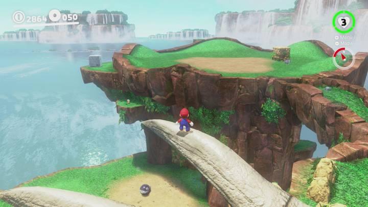 Roca lunar Reino de las cataratas Super Mario Odyssey