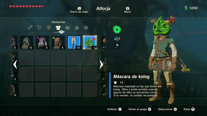 Link con la Máscara Kolog en Zelda Breath of the Wild