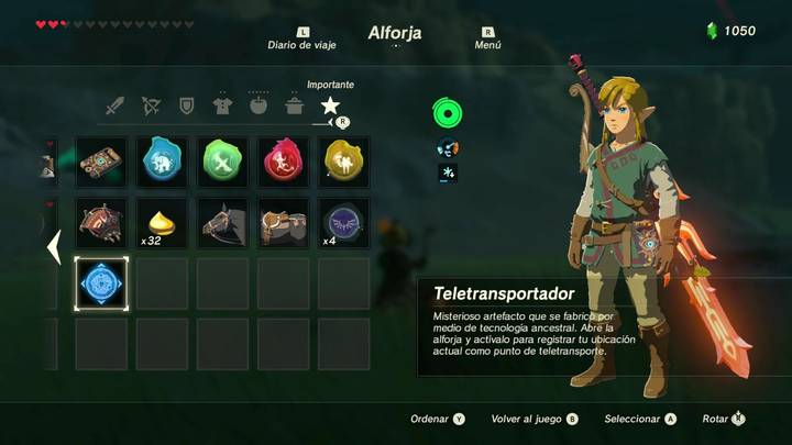 Usando el teletransportador Zelda Breath of the Wild
