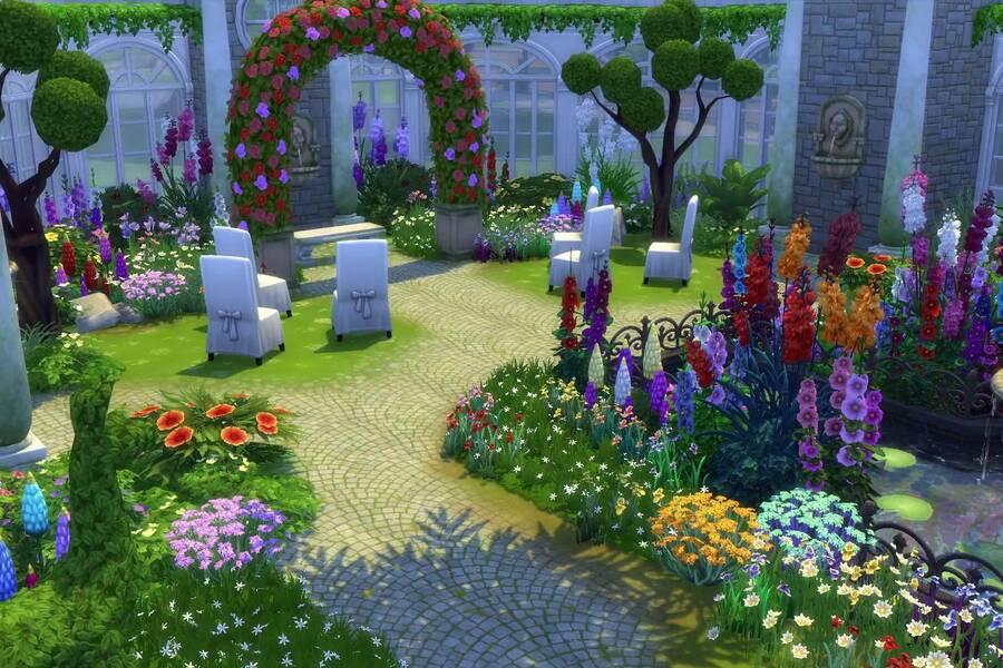 Los sims 4 presenta en tr iler su pack 39 jard n rom ntico for El jardin romantico
