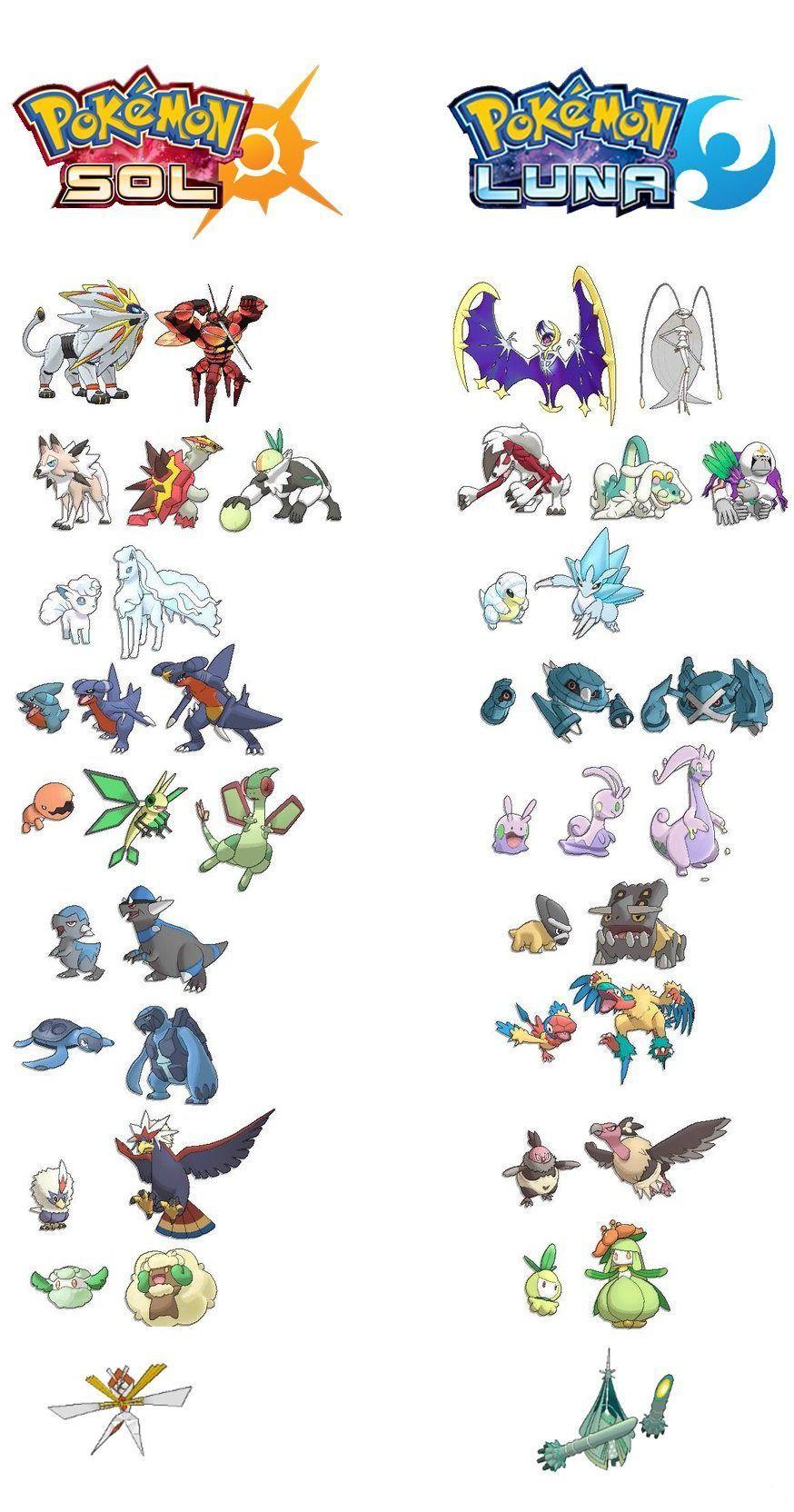 pokemon exclusivos sol y luna