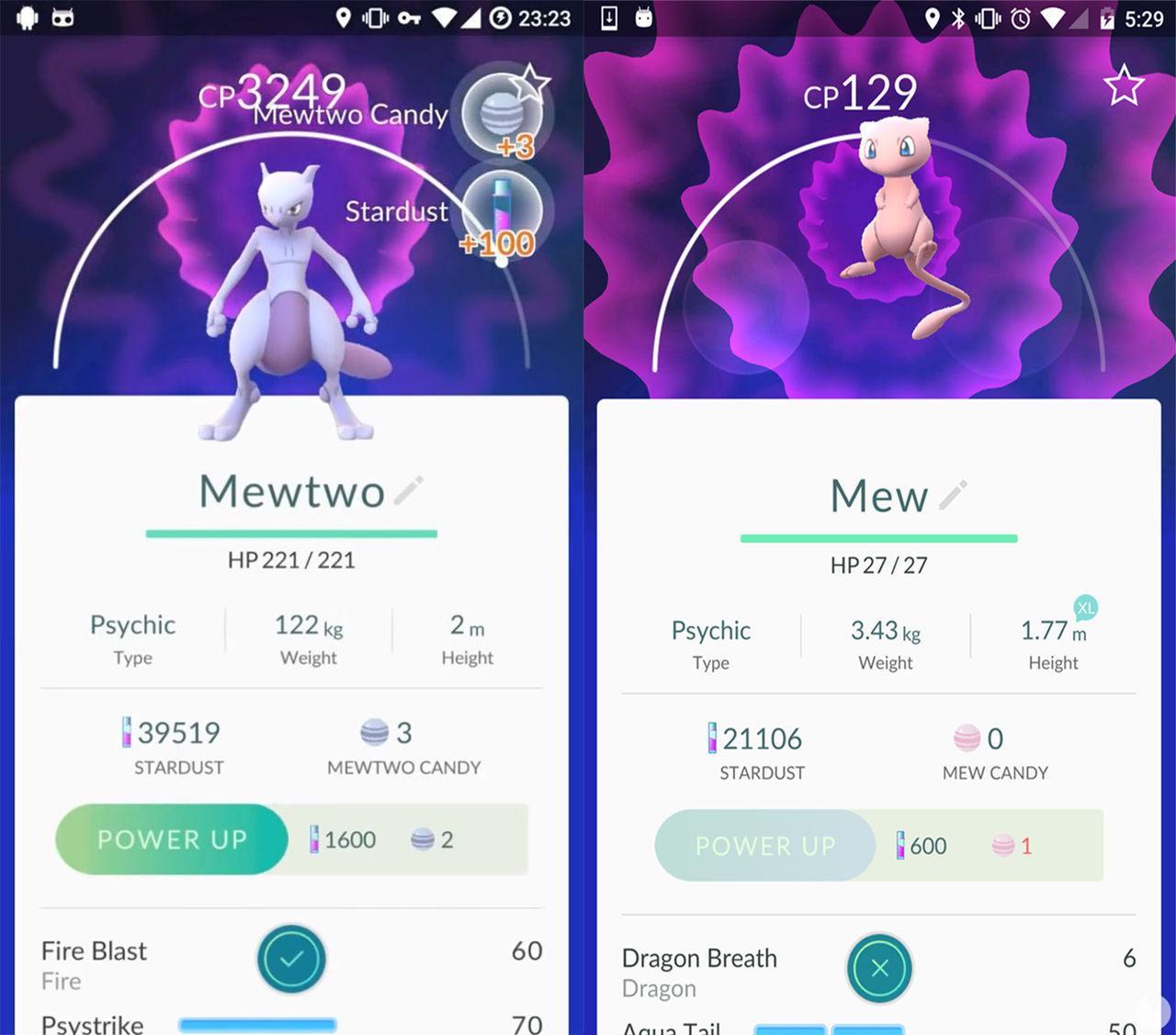 Mewtwo y Mew pokemon go