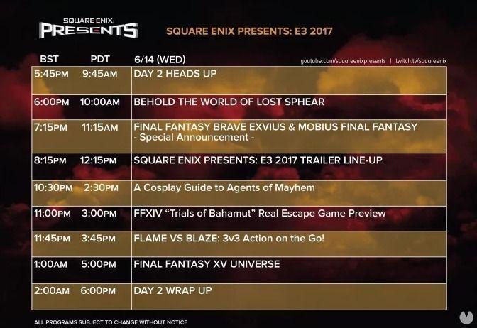 Juegos y horarios de Square Enix en el E3 2017