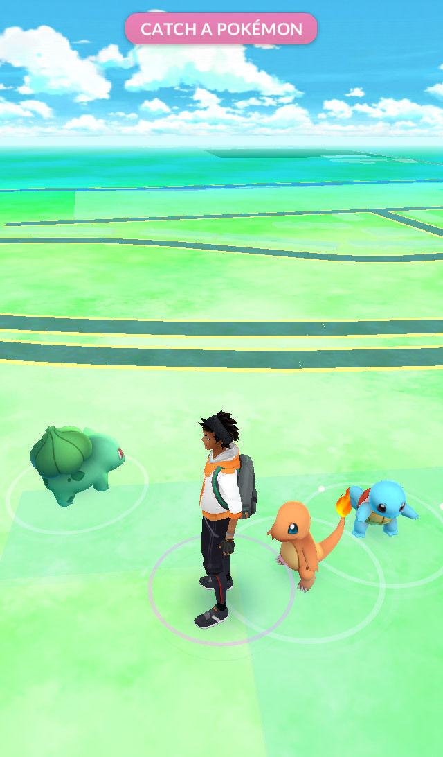 Charmander, Bulbasaur y Squirtle al inicio del juego