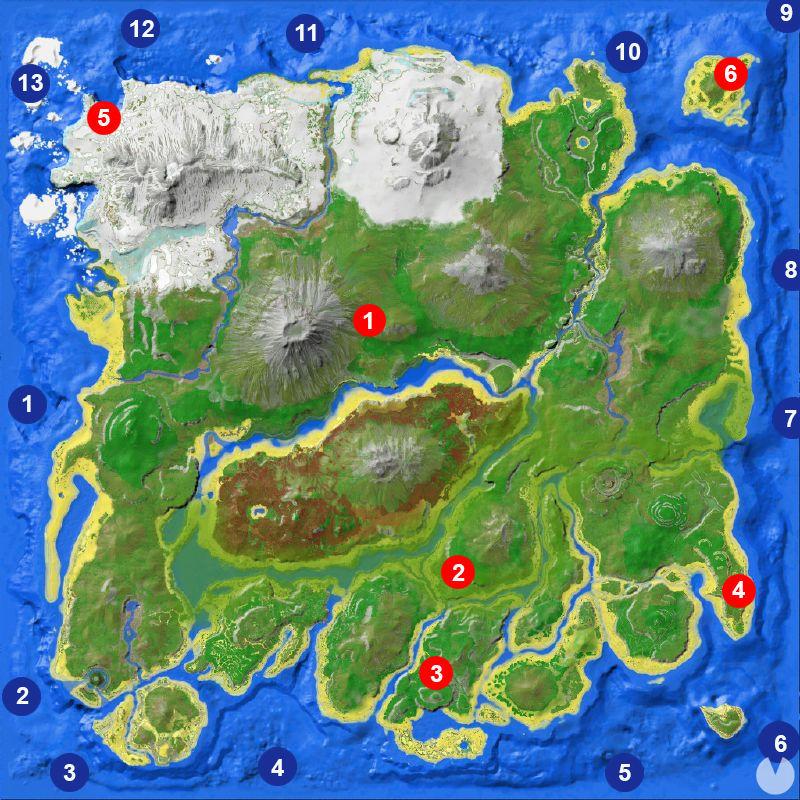 Mapa de cuevas Ark