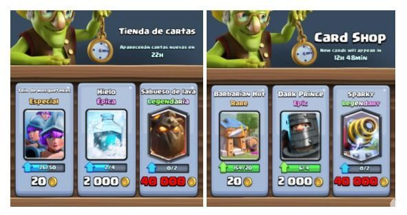 obtencion de cartas en Clash Royale
