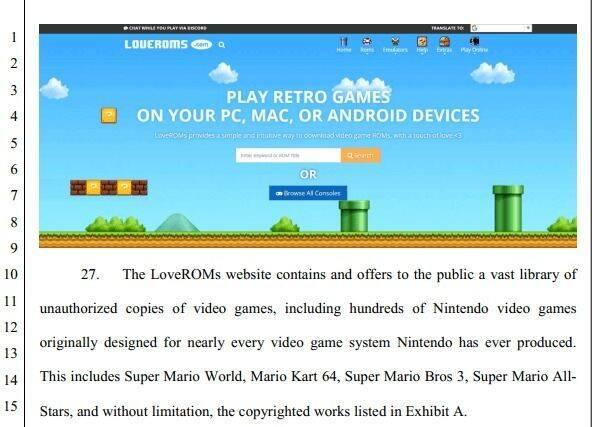 Nintendo presenta una demanda contra dos páginas que ofrecían ROMs