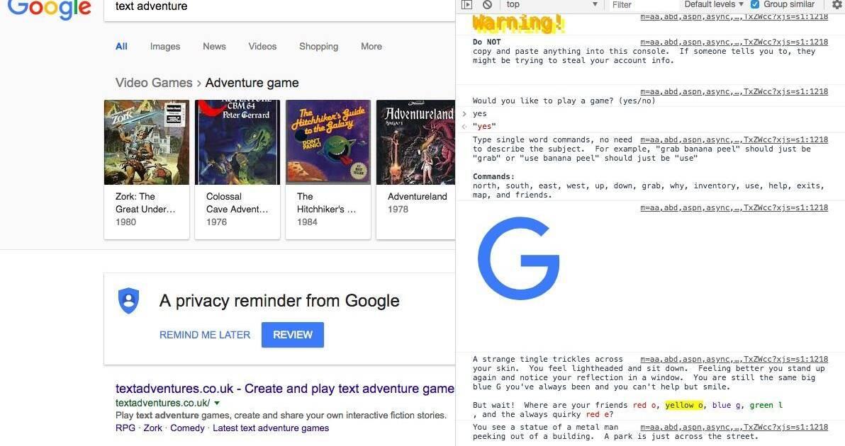 Descubren una aventura de texto escondida en el navegador Chrome