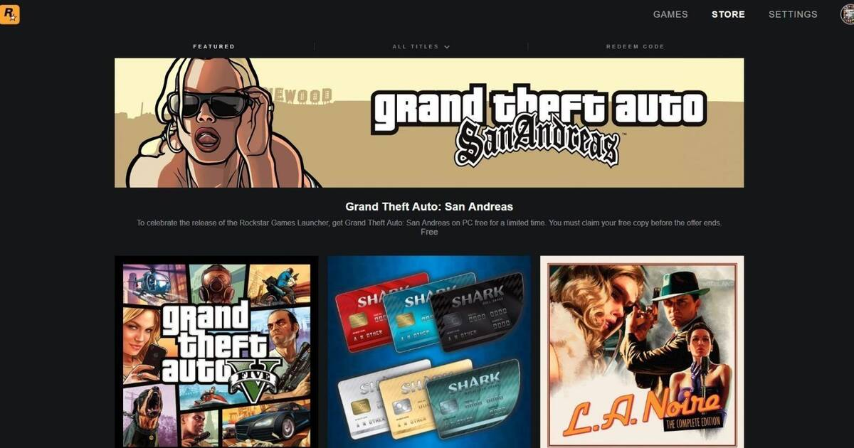 GTA San Andreas gratis para PC al descargar Rockstar Games Launcher
