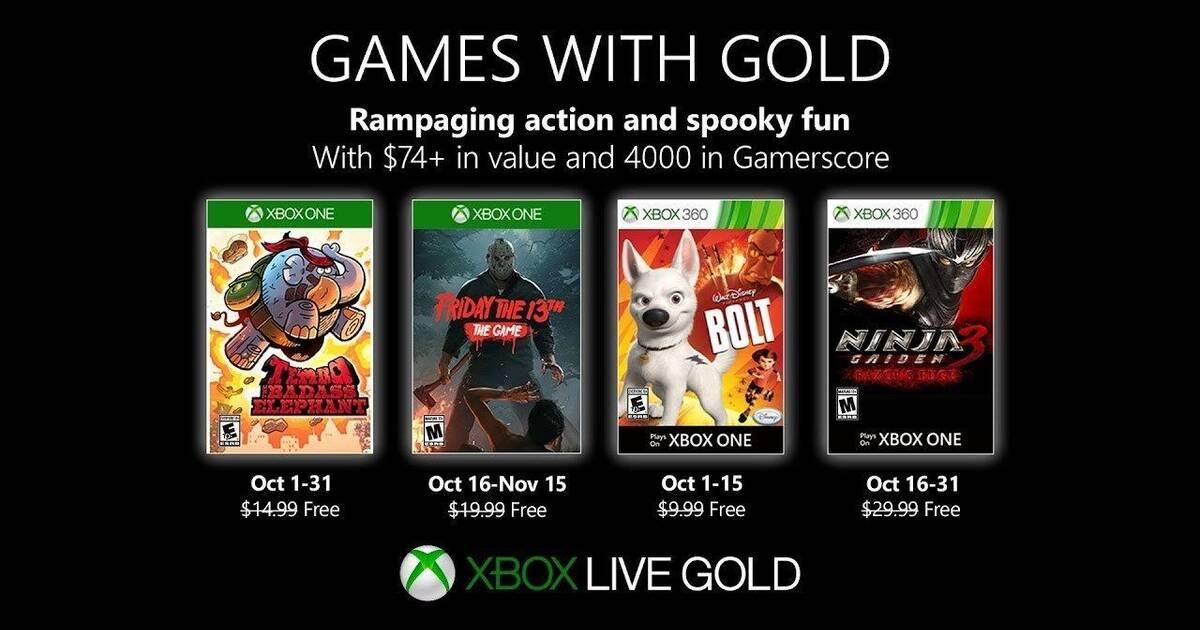 Se anuncian los juegos gratuitos del octubre para Xbox Live Gold