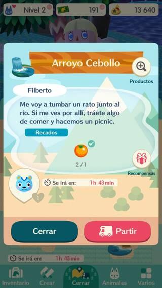 Cooldown de los recados en Animal Crossing Pocket Camp