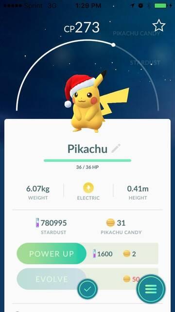 Pikachu navideño en la Pokédex de Pokemon GO