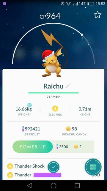 Raichu Navideño en Pokémon go