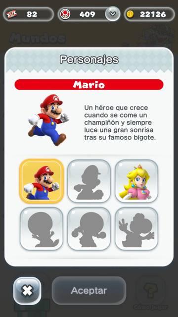 Pantalla de personaje Super Mario Run