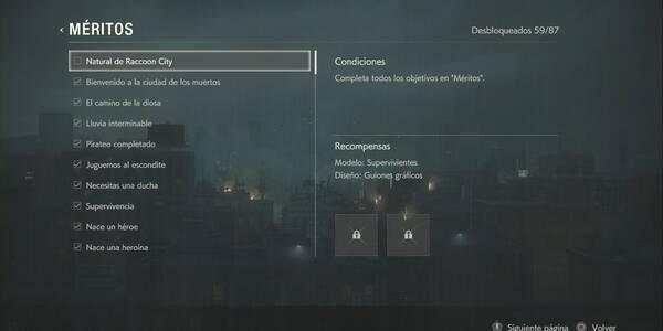 Resident Evil 2 Remake: Todos los méritos, requisitos y recompensas