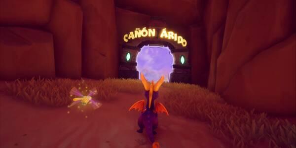 Cañón árido en Spyro 1 - Estatuas de dragón, llaves y secretos