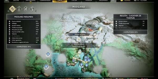 Camara oculta de Odín 4 en Midgard: Cadáver de Thamur - God of War (PS4)