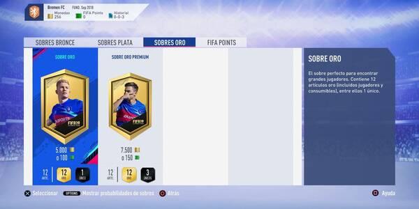 FIFA 19: Tipos de sobres, sus recompensas y probabilidades