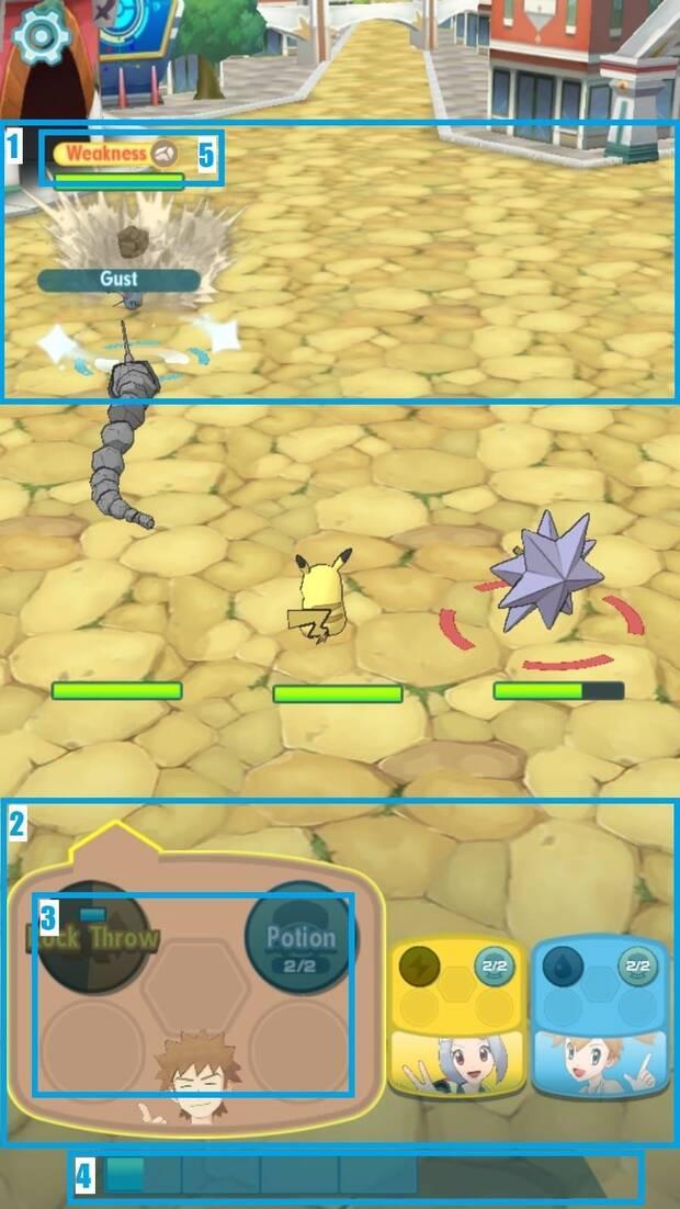 Pokémon Masters - Cómo funcionan los combates: pantalla de combate
