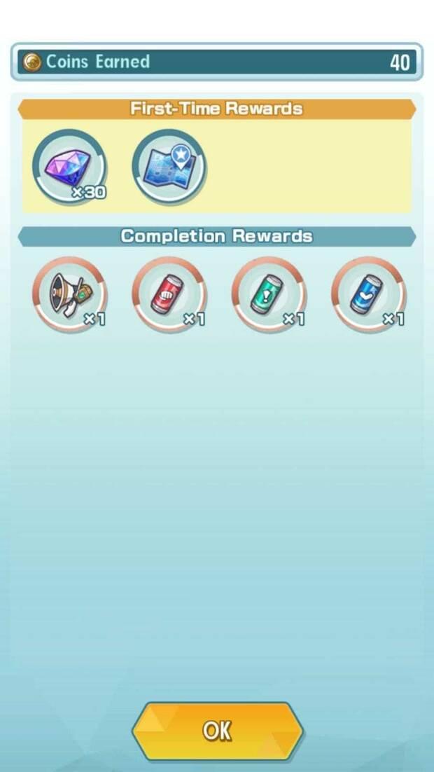 Pokémon Masters - Pantalla de recompensas de historia