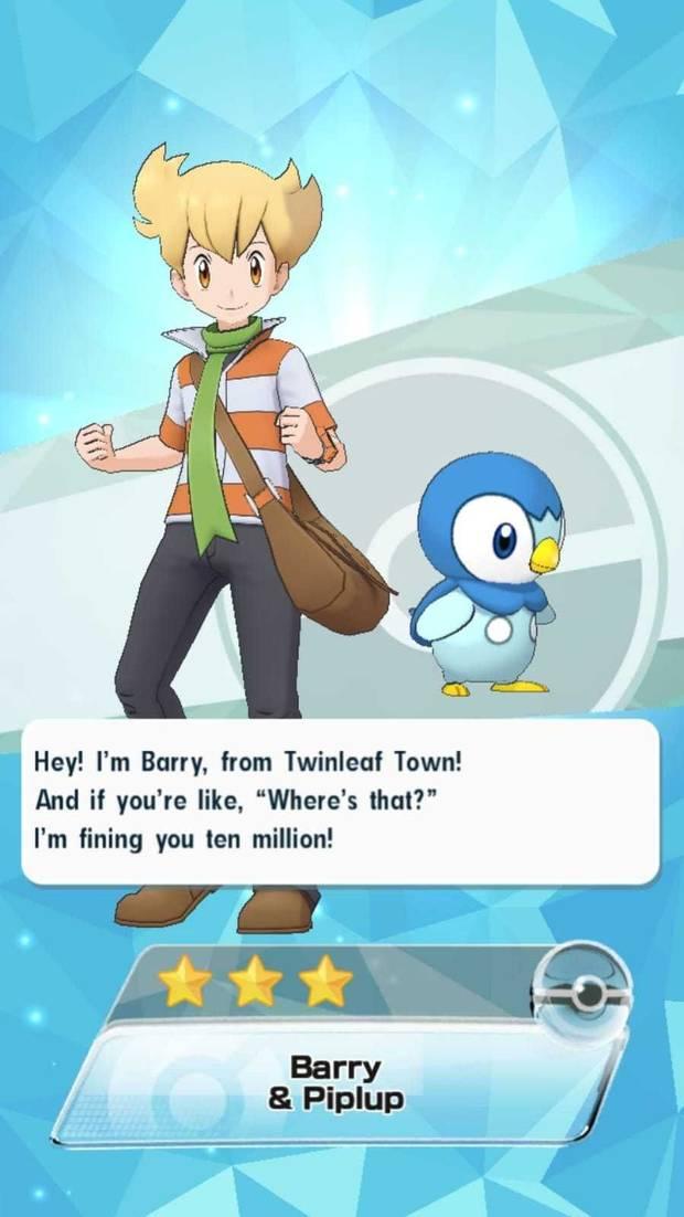 Pokémon Masters - Entrenadores y pokémon: Barry y Piplup