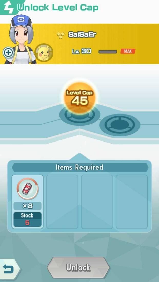 Pokémon Masters - Cómo subir del nivel 30: pantalla para subir de nivel 30