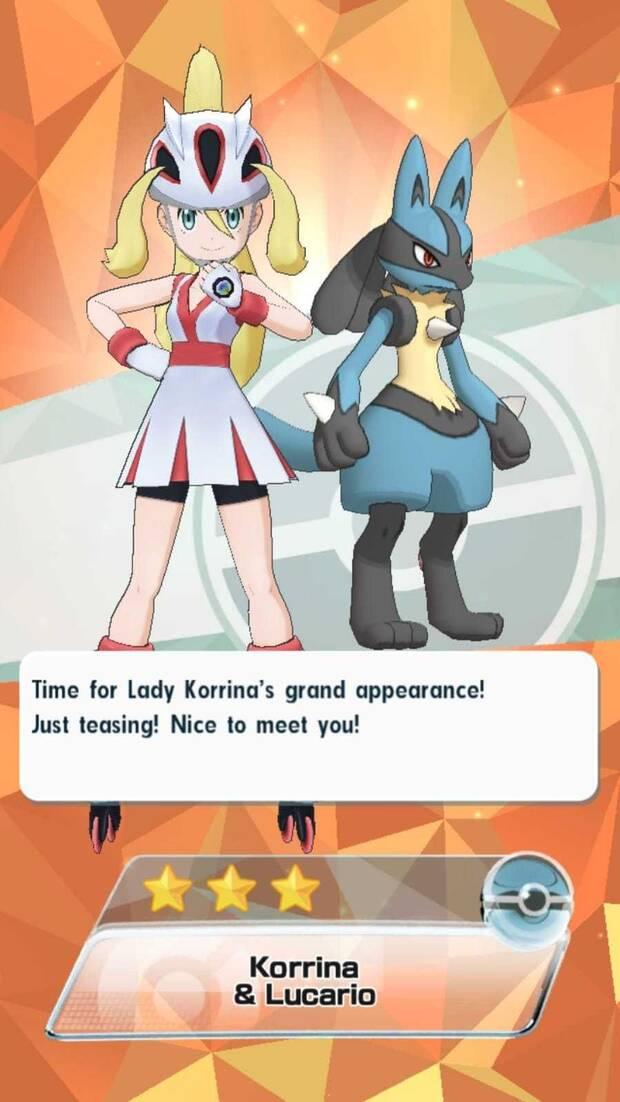 Pokémon Masters - Entrenadores y pokémon: Korrina y Lucario