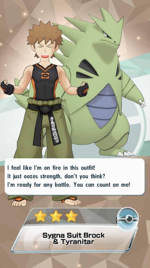 Pokémon Masters - Entrenadores y pokémon: Brock y Tyranitar