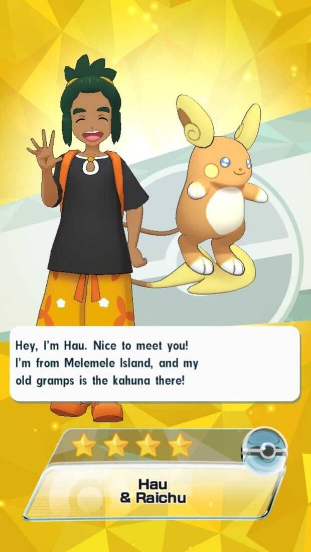 Pokémon Masters - Entrenadores y pokémon: Hau y Raichu Alola