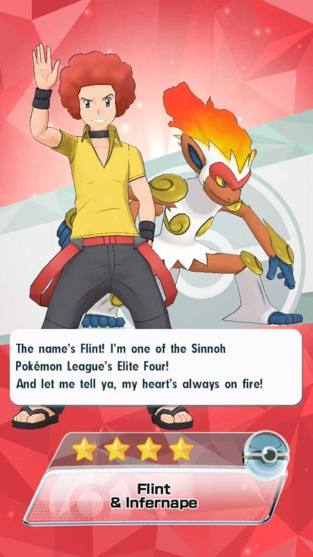 Pokémon Masters - Entrenadores y pokémon: Flint e infernape