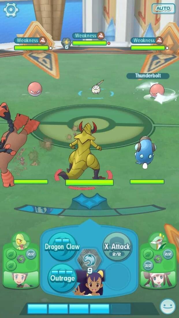 Pokémon Masters - Modo cooperativo: pantalla de combate