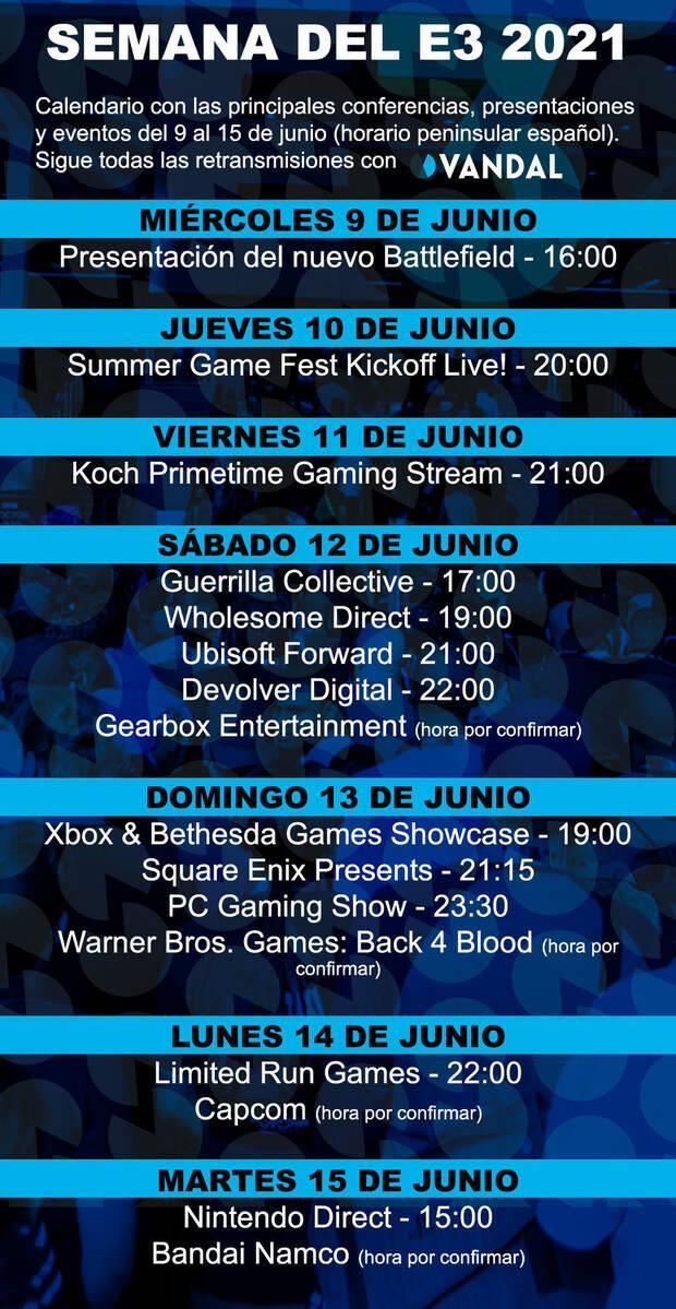 Event calendar E3 2021 VANDAL