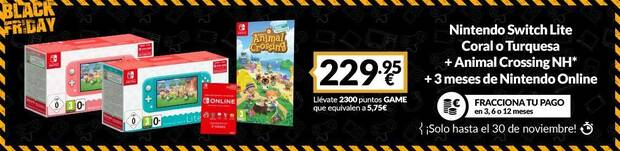 Pack de Nintendo Switch Lite con juego rebajado en el Black Friday de GAME.