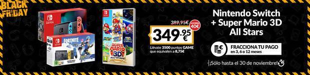 Pack rebajado de Nintendo Switch con juego en el Black Friday de GAME.