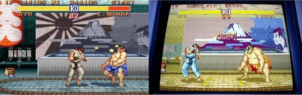 Street Fighter 2 con y sin bandera japonesa del Sol Naciente.