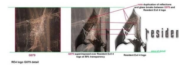 Comparativa del logo de Resident Evil 4 con una de las fotos del libro Surfaces