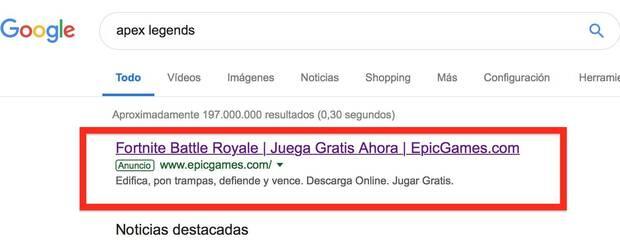 Epic Games publicita Fortnite cuando la gente busca Apex Legends en Google Imagen 2