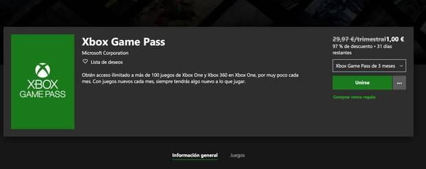 Microsoft anuncia una oferta de 3 meses de Xbox Game Pass por 1 euro Imagen 2