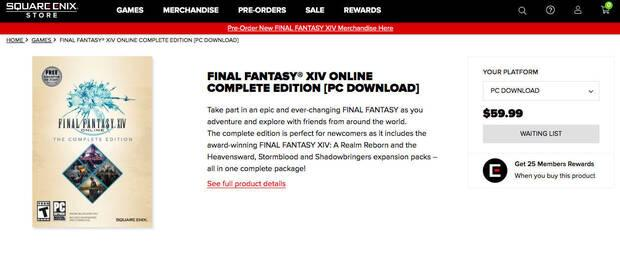 Final Fantasy XIV sold out at the Square Enix store